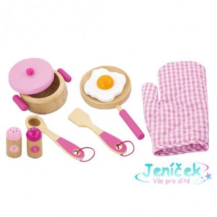 Dětské dřevěné nádobí Viga-snídaně růžové