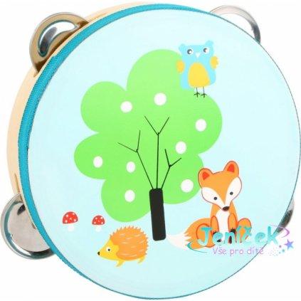Legler Dětská dřevěná tamburína Liška - modrá