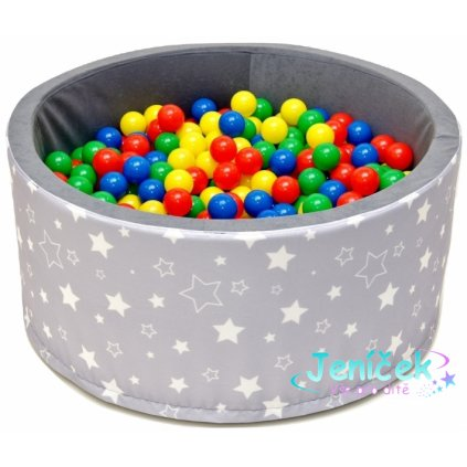 NELLYS Bazén pro děti 90x40cm kruhový tvar + 200 balónků - šedý s hvězdičkami