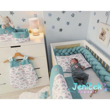 Baby Nellys 2-dílná sada do koč., kolébky, hnízdečka,Vafel, 3v1, bavlna LUX, Duha - mátová