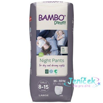 BAMBO Dreamy Night Kalhotky plenkové jednorázové Pants Girl 8-15 let, 10 ks, pro 35-50 kg