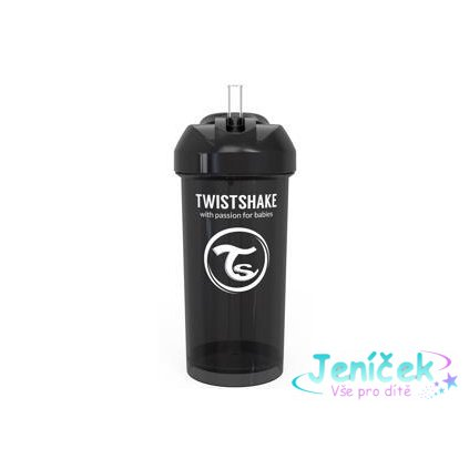 TWISTSHAKE Láhev s brčkem 360 ml (6m+) černá