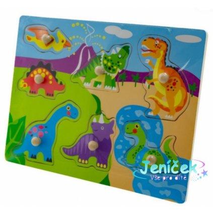 Tulilmi Dřevěné zábavné puzzle vkládací - Dinosauři