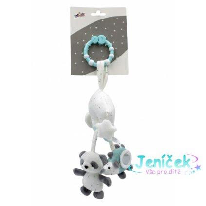 Tulilo Závěsná plyšová hračka s rolničkou Medvídek Panda - mátový