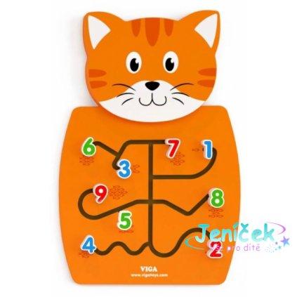 Viga Dřevěná nástěnná hra s čísly - Kocourek