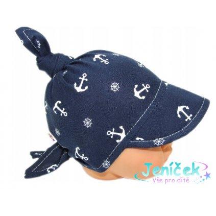 Baby Nellys Dětský bavlněný šátek s kšiltem na zavazování, kotvička - granát
