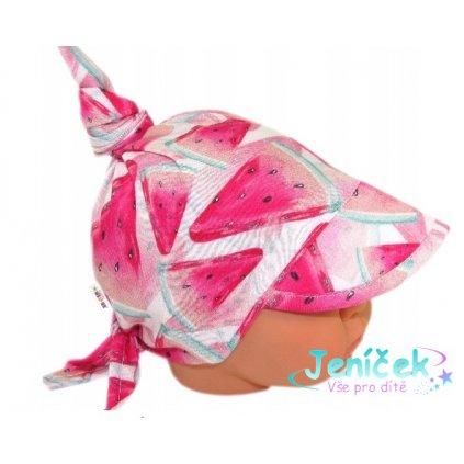 Baby Nellys Dětský bavlněný šátek s kšiltem na zavazování, meloun - růžová
