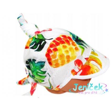 Baby Nellys Dětský bavlněný šátek s kšiltem na zavazování, Ananas, listy - bílý