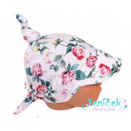 Baby Nellys Dětský bavlněný šátek s kšiltem na zavazování, poupata - sv. růžová