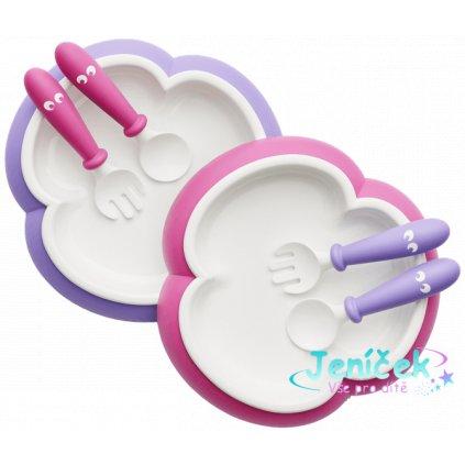 Talířek se lžičkou a vidličkou Pink/Purple - set 2 ks, BabyBjörn