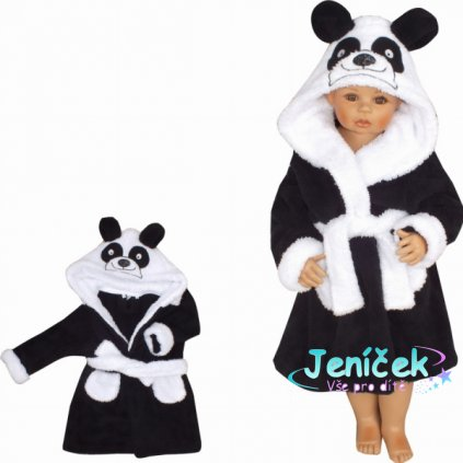 Z&Z Luxusní chlupáčkový župan s kapucí a páskem, Panda - černá V
