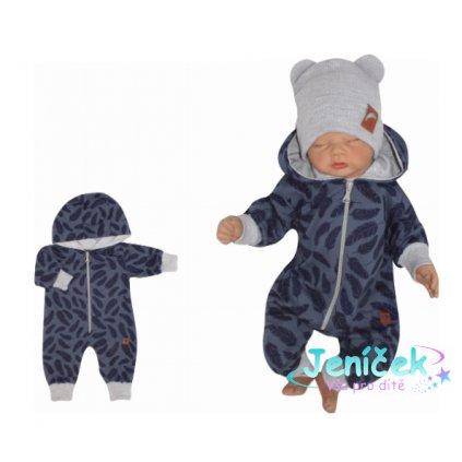 Z&Z Dětský teplákový overálek s kapucí, Pírka, modrý, V