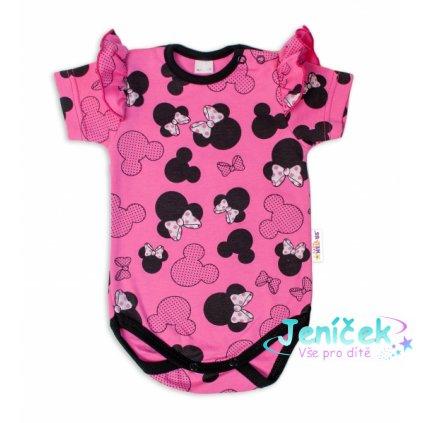 Baby Nellys Kojenecké body kr. rukáv s volánkem Minnie - růžová