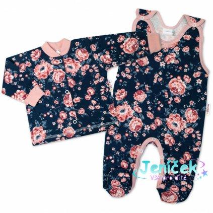 Baby Nellys 2-dílná sada, bavlněné dupačky s košilkou Růžičky, granát