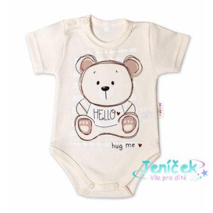 Baby Nellys Bavlněné kojenecké body, kr. rukáv, Teddy - ecru, vel. 86