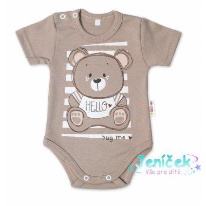 Baby Nellys Bavlněné kojenecké body, kr. rukáv, Teddy - béžová