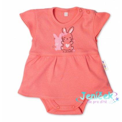 Baby Nellys Bavlněné kojenecké sukničkobody, kr. rukáv, Cute Bunny - lososové, vel. 68