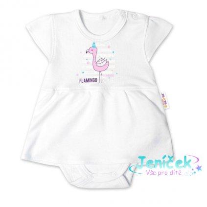 Baby Nellys Bavlněné kojenecké sukničkobody, kr. rukáv, Flamingo - bílé