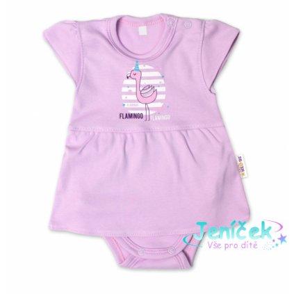 Baby Nellys Bavlněné kojenecké sukničkobody, kr. rukáv, Flamingo - lila, vel. 86
