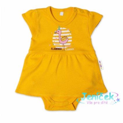 Baby Nellys Bavlněné kojenecké sukničkobody, kr. rukáv, Flamingo - hořčicové