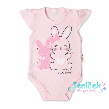 Baby Nellys Bavlněné kojenecké body, kr. rukáv, Cute Bunny - sv. růžová