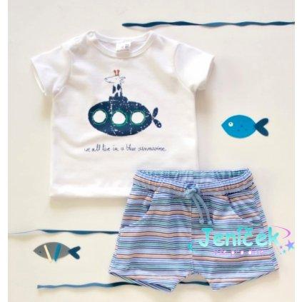 Karen 2 dílná dětská sada, triko s kraťasky For Boy - proužky modré, zelené