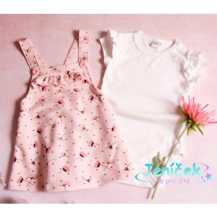 Karen-Baby Sada/Kojenecké body + sukně s láclem, Vlčí mák - růžová/bílá, vel. 80
