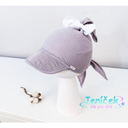 Baby Nellys Lehký mušelínový šátek s kšiltem na zavazování + mašle, šedá