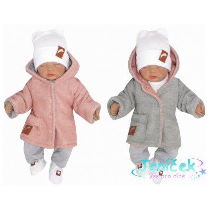 Z&Z Pletený, oboustranný svetřík, kabátek s kapucí, růžovo-šedý V
