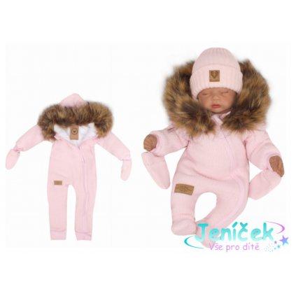 Z&Z Zimní kombinéza s kapucí a kožešinou + rukavičky, růžová V