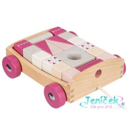 Goki Edukační dřevěná hračka tahací Autíčko s kostkami na šňůrce, 17 x 15 x 63 cm, růžové v
