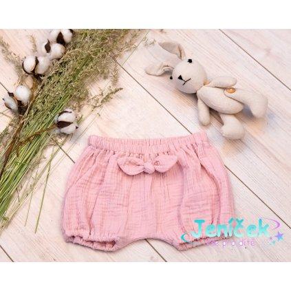 Baby Nellys Mušelínové letní kraťasky GIRL s mašličkou - pudrově růžová