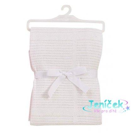 Baby Dan Dětská háčkovaná bavlněná deka Babydan bílá