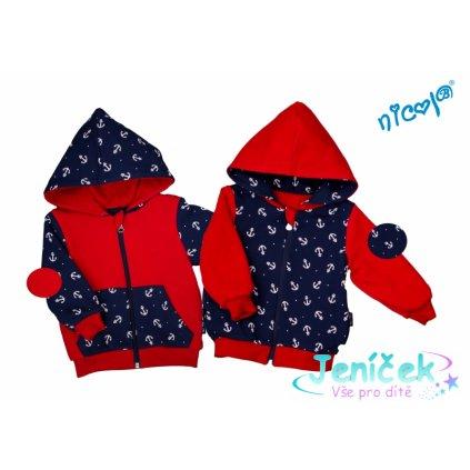 Dětská bunda/mikina Nicol oboustranná, Sailor - granát/červená
