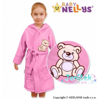 Baby Nellys Dětský župan - Medvídek Teddy Bear, 98/104 - sv. růžový