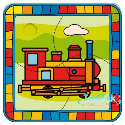 Bino Dřevěné hračky vkládací puzzle lokomotiva
