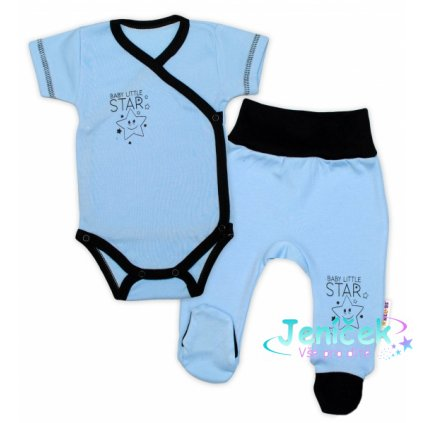 Baby Nellys 2-dílná sada body kr. rukáv + polodupačky, modrá - Baby Little Star