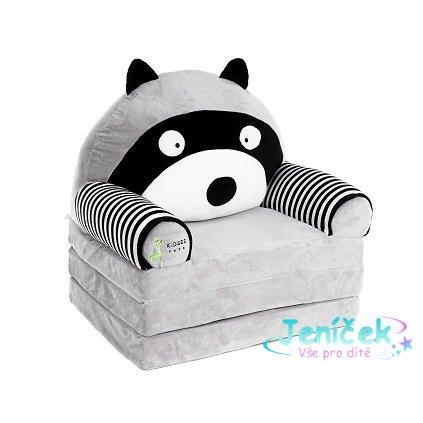 Baby Nellys Velké rozkládací plyšové křesílko 3v1 šedé - Lemur