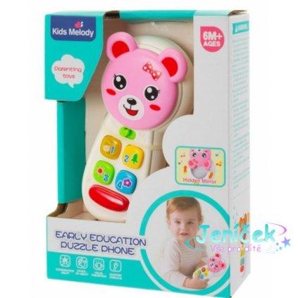 Euro Baby Interaktivní hračka - Telefón Medvídek, růžový