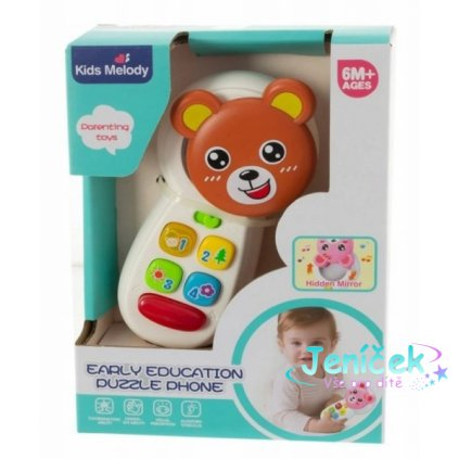 Euro Baby Interaktivní hračka - Telefón Medvídek, hnědý
