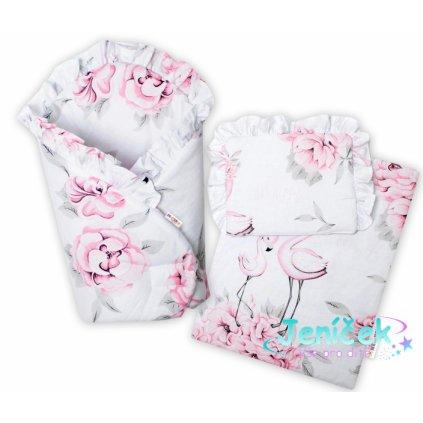 Baby Nellys Luxus. sada pro panenku - zavinovovačka, peřinka a polštářek, Plameňák růžová