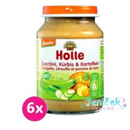 6x HOLLE Bio Cuketa a dýně s bramborem - zeleninový příkrm, 190 g