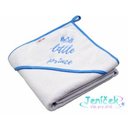 Baby Nellys Dětská termoosuška Little prince s kapucí, 80 x 80 cm - bílá,modrý lem
