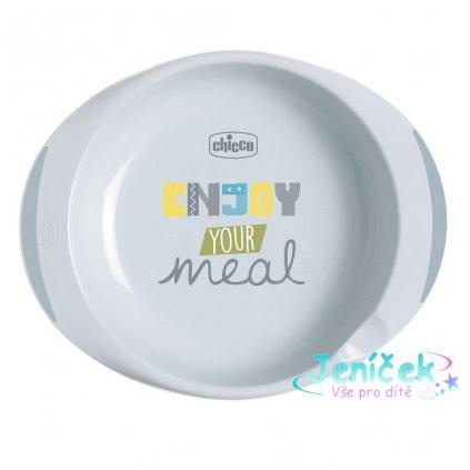 CHICCO Jídelní sada - talíř, miska 12 m+, zelená