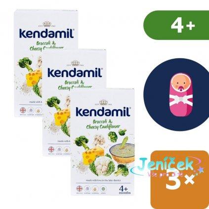 3x Kendamil Jemná bezlepková kaše s brokolicí, květákem a sýrem (150 g)