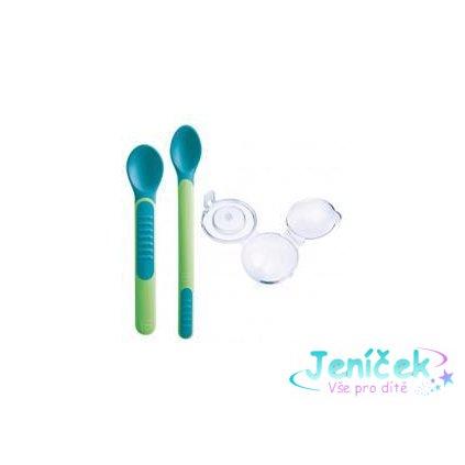 MAM Lžička Feeding Spoons and Cover 6+m 2 ks zelená