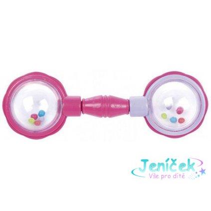 CANPOL BABIES Chrastítko míčky na čince – růžové