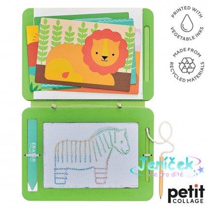 Petit Collage Magnetická kreslící tabulka divoká zvířata