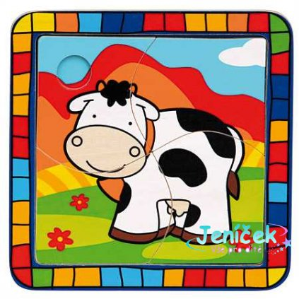 Dřevěné vkládací puzzle kráva