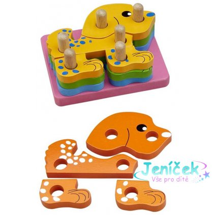 HJ Toys Nasazování na tyč puzzle pejsek